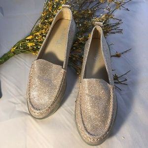 Gold Sparkle Chunky Flatform Slip On Loafers Flats